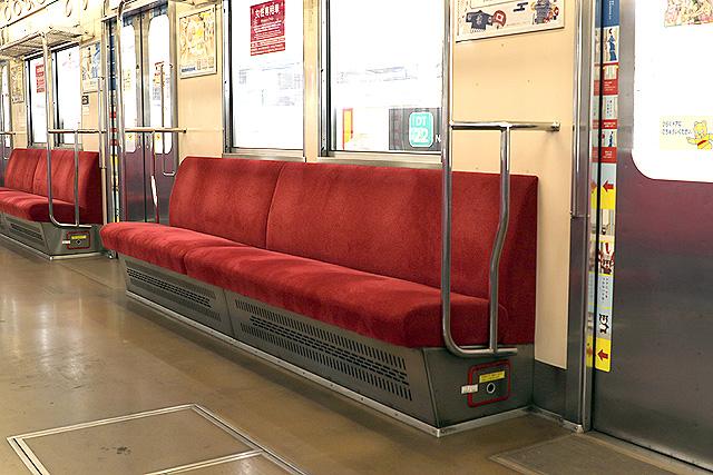 東急8500系(軽量車)座席、袖仕切り