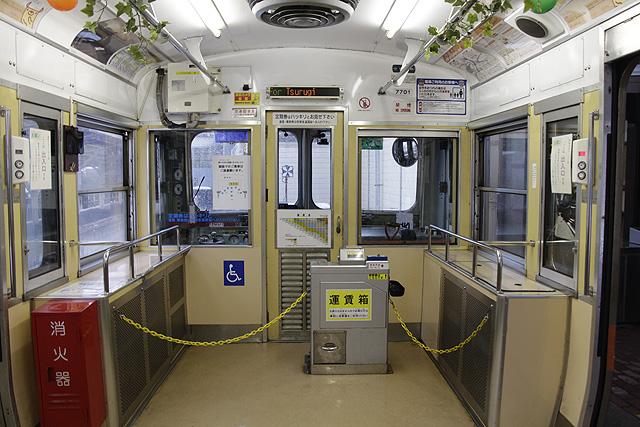 北陸鉄道7700系 乗務員室背面、運賃箱、車いすスペース、LED車内案内装置