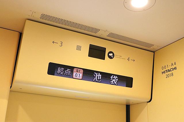 西武001系Laview LEDデッキ案内装置、防犯カメラ