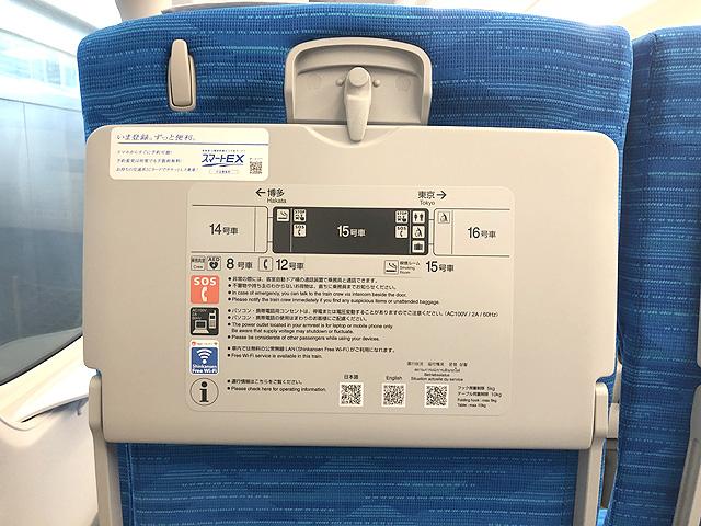 JR東海N700S(普通車)座席背面テーブル、フック