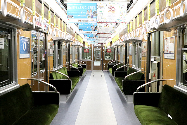 北大阪急行8000形(リニューアル・06編成)車内デザイン