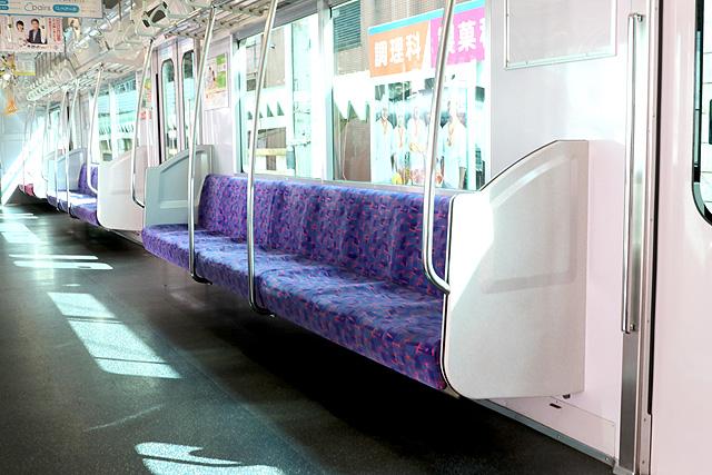 名鉄3150系(3次車)座席、袖仕切り、スタンションポール