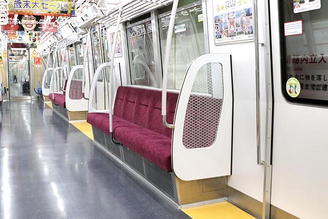 都営地下鉄12-600形(3次車)座席、袖仕切り、スタンションポール