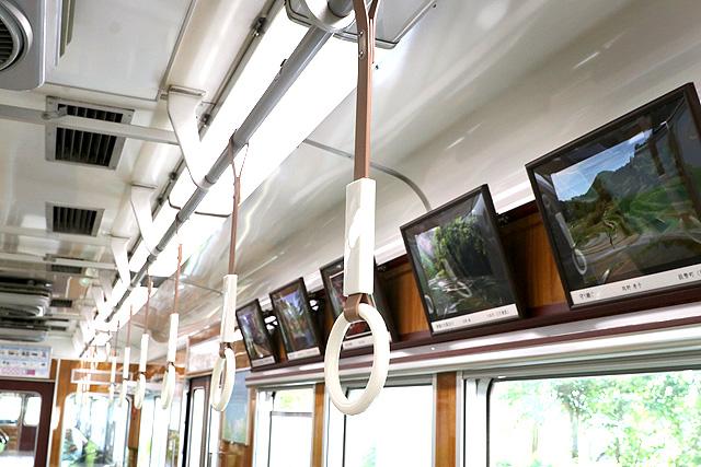 能勢電鉄5100系(復刻車両)吊革、額装