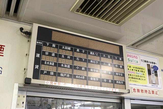 関東鉄道キハ2200形 運賃表